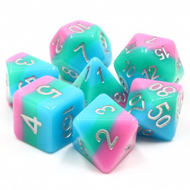Opaque pastel resin stripes of blue, teal green, and pink lie under silver painted numbers.