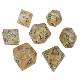 Clear resin dice set with real mini starfish under silver painted numbers