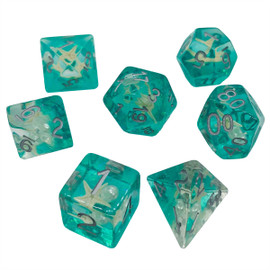Translucent teal resin dice set with real mini starfish under silver painted numbers