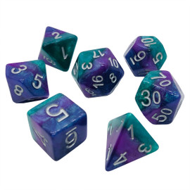 Opaque glittery dice with stripes of dark blue, violet, and teal green under silver-painted numbers