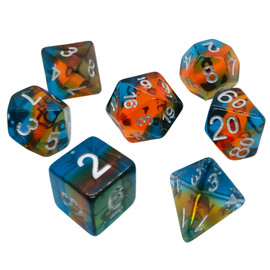 Translucent striped dice with layers of blue, and orange resin. When seen from the side, the colors combine to appear greenish.