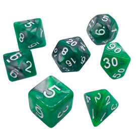 Swirls of steel-colored and emerald green acrylic blend under white numbers in this dice set
