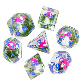 This clear resin dice set contains miniature pink-capped mushrooms nestled in a bed of green moss.