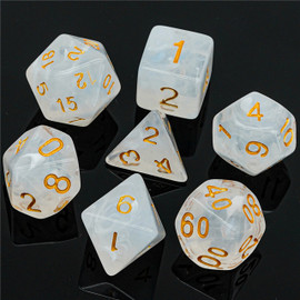 These translucent white dice have swirls of more opaque resin throughout. Gold-painted numbers.