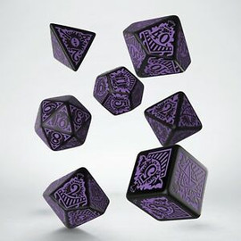 Polyhedral Dice Set: Call of Cthulhu: Horror on the Orient Express: Black/Purple (7 dice)