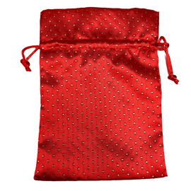 Dice Bag: Red Satin with Gold Pearl Design