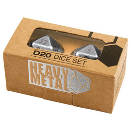 Dice Set: Poly: Heavy Metal D20 Chrome (2 count)