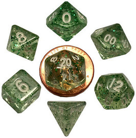 Mini 10mm Polyhedral Dice Set - Ethereal Green w/ White Numbers (7 dice)