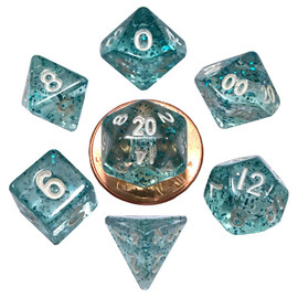 Mini 10mm Polyhedral Dice Set - Ethereal Light Blue (7 dice)