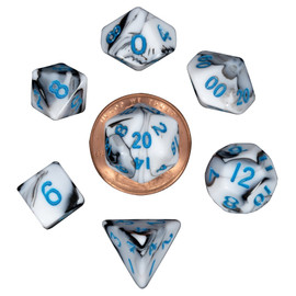 Mini 10mm Polyhedral Dice Set - Marble with Blue Numbers (7 dice)