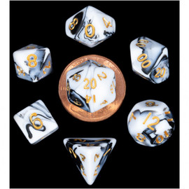 Mini 10mm Polyhedral Dice Set (7) - Marble with Gold Numbers