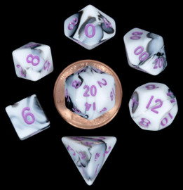 Mini 10mm Polyhedral Dice Set (7) - Marble with Purple Numbers