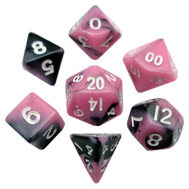 Mini 10mm Polyhedral Dice Set - Pink/ Black w/ White Numbers (7 dice)