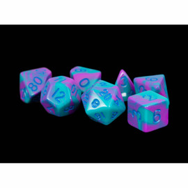 Mini 10mm Polyhedral Dice Set (7) - Purple/Teal with Blue Numbers