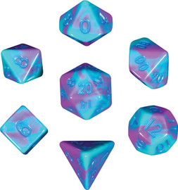 Mini 10mm Polyhedral Dice Set - Purple/Teal with Blue Numbers (7 dice)