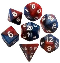 Mini 10mm Polyhedral Dice Set - Red/ Blue with White Numbers (7 dice)