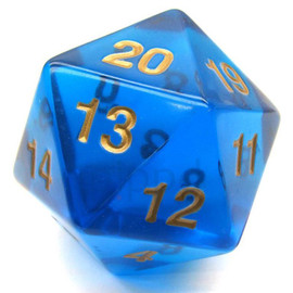 55mm Spindown D20 - Translucent Sapphire with Gold Paint