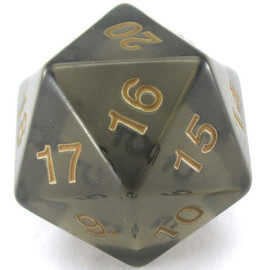 55mm Spindown D20 - Translucent Smoke with Gold Paint