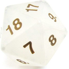 55mm Spindown D20 - Translucent Pearl with Gold Paint