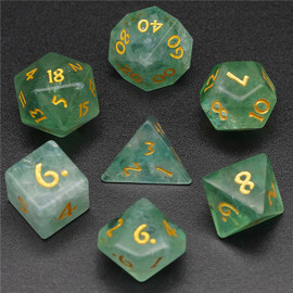 Polyhedral Dice Set: Green Fluorite Stone Dice (7 dice)