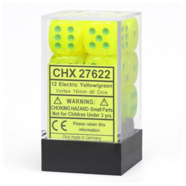 D6 Dice Set: 16mm Vortex Electric Yellow with Green Pips (12 dice)