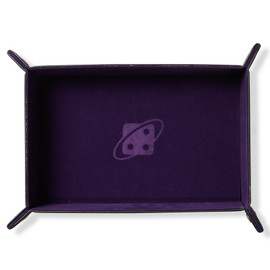 Folding Dice Tray: Rectangle - Purple with Copper Buttons