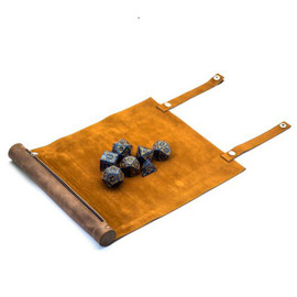 Leatherette Rollable Dice Mat with Zipped Pouch / Scroll Case - Brown