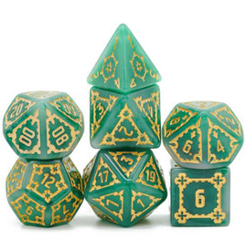 Extra-large imitation jade resin dice with elaborate gold-painted engraving around the numbers.