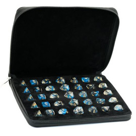 Black leatherette polyhedral dice case with space for 5 sets of 7 dice - Shown with Dice