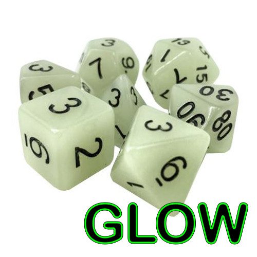Polyhedral Dice Set: White (Glow-in-the-Dark) (7 dice)