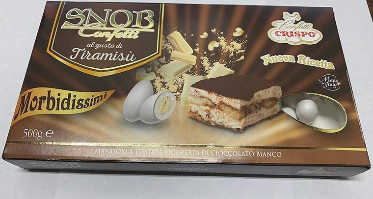 Italian Tiramisu Crispo Snob Gourmet Confetti Dragees - 500 grams Box, 1.1 Pound