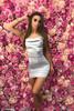 Silver Cowl Neck Satin Mini Dress