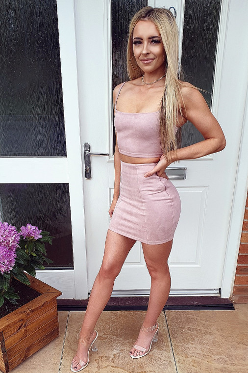 Dusty Pink Suede Bralet & Mini Skirt Co Ord