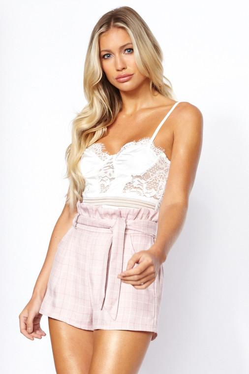 Pink Check Paper Bag Shorts