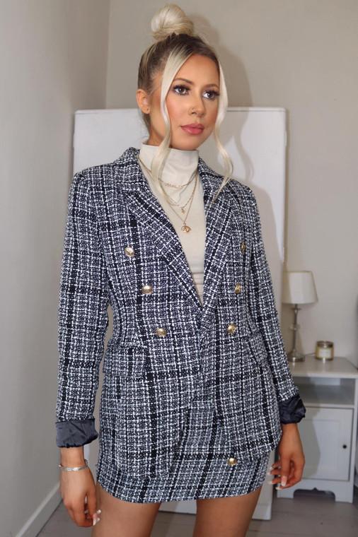 Tweed Gold Button Blazer