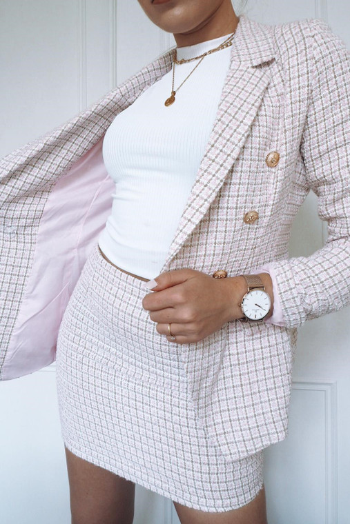 Boucle Gold Button Blazer & Mini Skirt