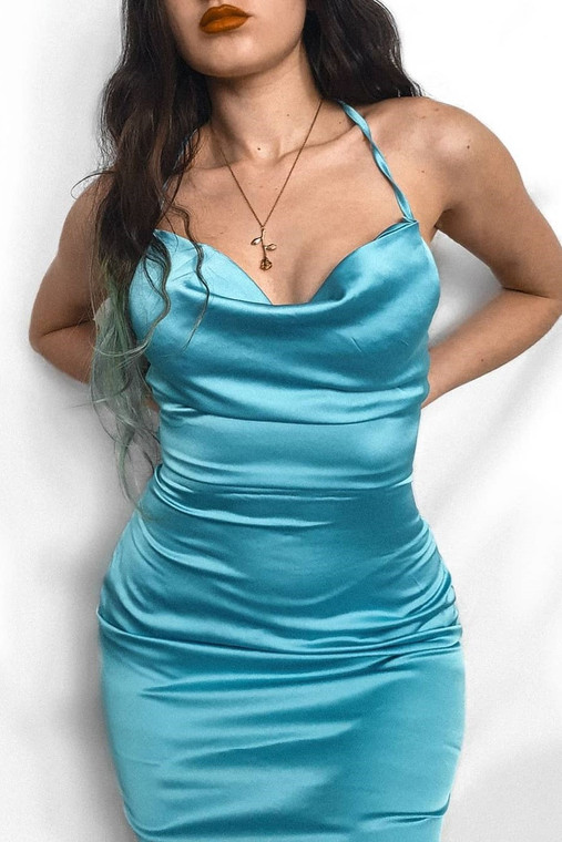 Blue Cowl Neck Satin Midi Dress