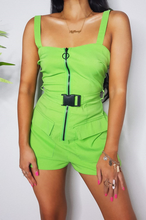 Lime Belted Playsuit