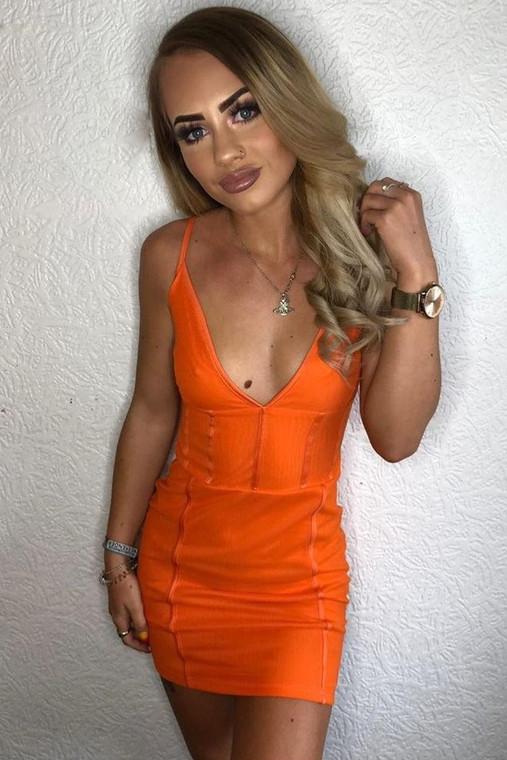Orange Mesh Bodycon Dress