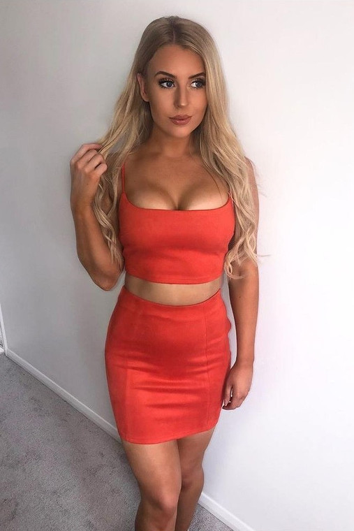 Orange Suede Bralet & Mini Skirt Co Ord
