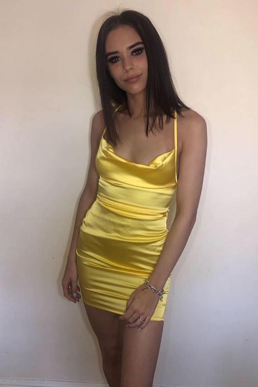 Yellow Cowl Neck Satin Mini Dress