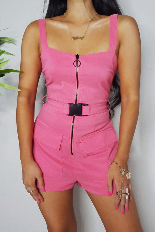 Pink Belted Playsuit