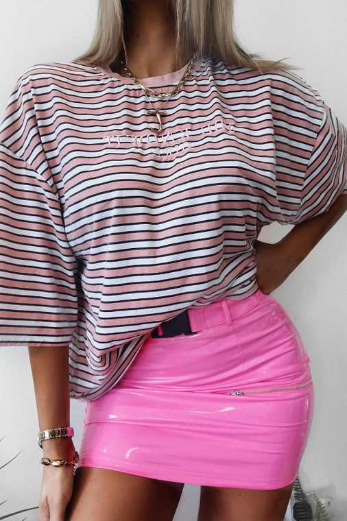 Hot Pink Vinyl Utility Mini Skirt