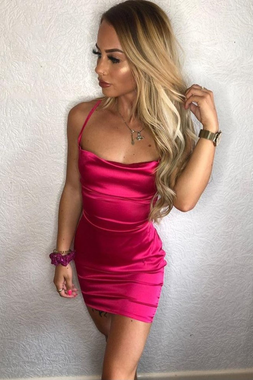 Fuchsia Cowl Neck Satin Mini Dress