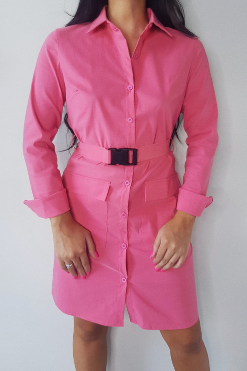 Pink Belted Utility Shirt Dress