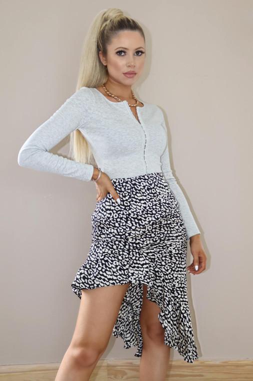Black Leopard Print Frill Midi Skirt