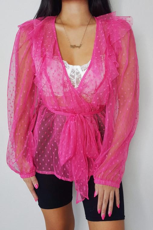 Pink Mesh Polka Dot Wrap Top