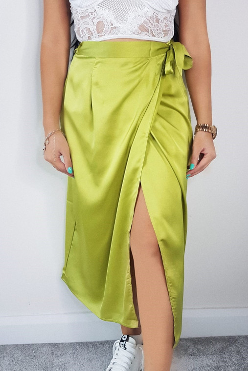 Lime Satin Wrap Midi Skirt
