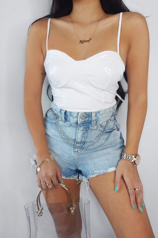 White Vinyl Lace up Back Top