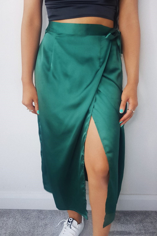 Emerald Stain Wrap Midi Skirt